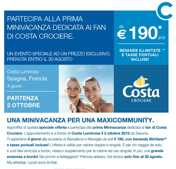 Costa Crocere... e Facebook