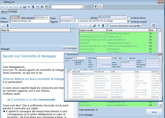 Ti Manager schermata mailing list