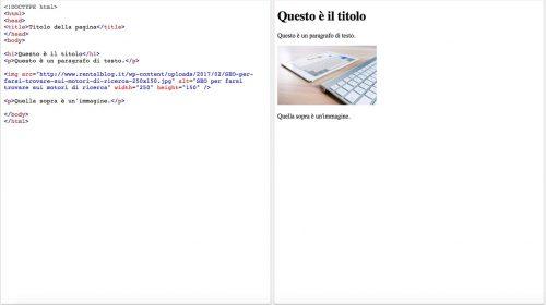 Esempio di tag html per SEO noleggio