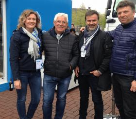 Pier Angelo Cantù allo stand CTE con Sara Bassetti, Augusto Brunelli di Scaligera Service e Giuseppe Maniero