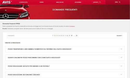 Sito web FAQ Avis autonoleggio