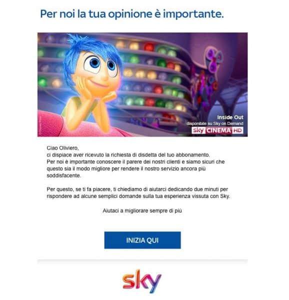 Messaggio Sky comunicazione cliente