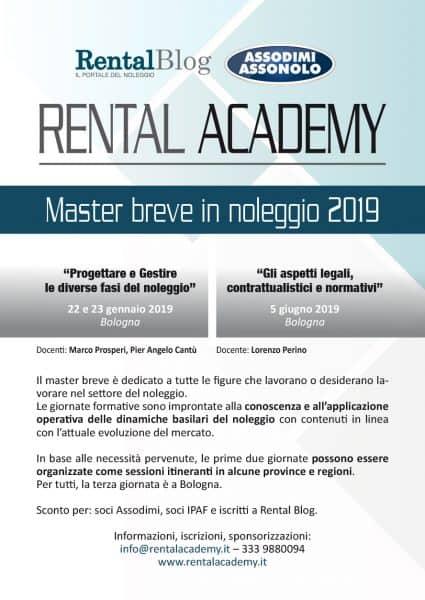 Master breve in noleggio Rental Academy 2019