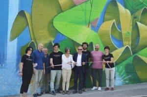 Lidia Furlan - ultima a destra- durante l'inaugurazione del progetto a Rimini