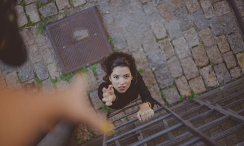 high-angle-photo-of-woman-on-ladder-