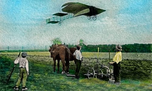 Bleriot monoplane in flight, flying over farmers in a field with a horse drawn plough. Contrast of modern travel in early 20th century and traditional means of transport.